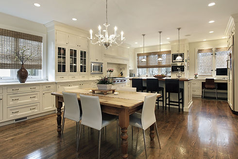 Kitchen in luxury home with white cabine