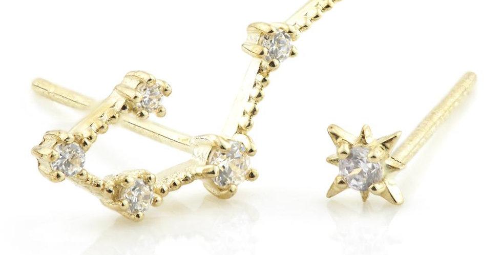 9ct Gold Gem Constellation Zodiac Earrings - Cancer