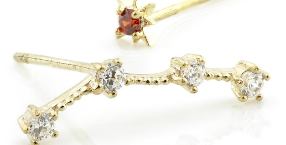 9ct Gold Gem Constellation Zodiac Earrings - Aquarius