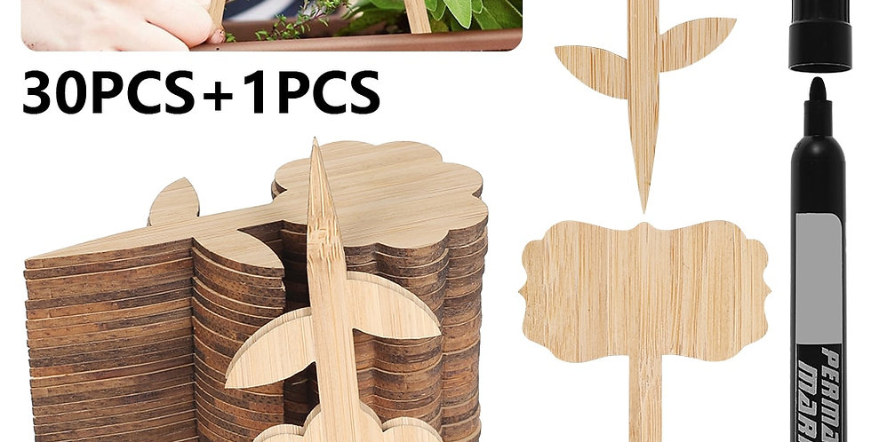 30pcs Plant Tag T-Type Bamboo Nursery Garden Plant Label Flower Thick Tag Label