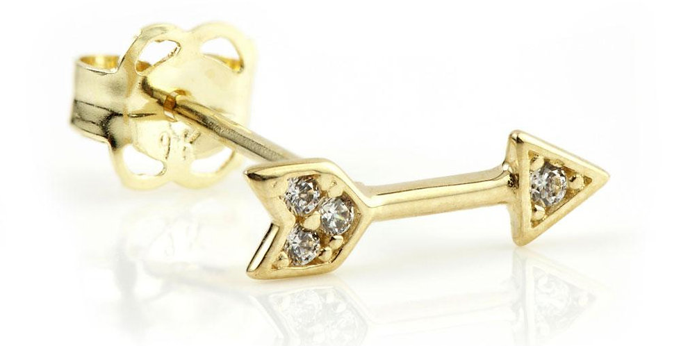9ct Gold Crystal Arrow Stud Earring