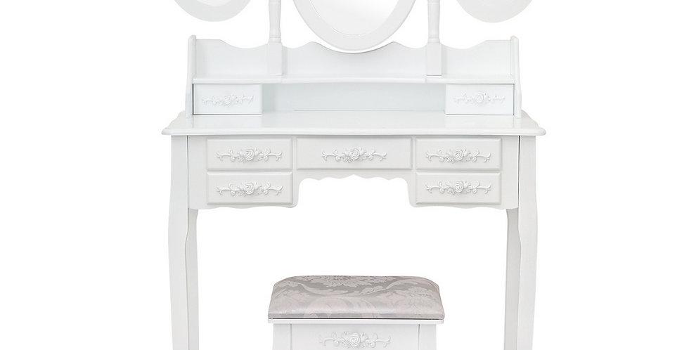 Tri-fold Mirror 7 Drawer Dressing Table White