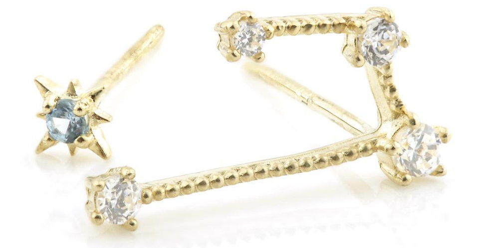 9ct Gold Gem Constellation Zodiac Earrings - Aries