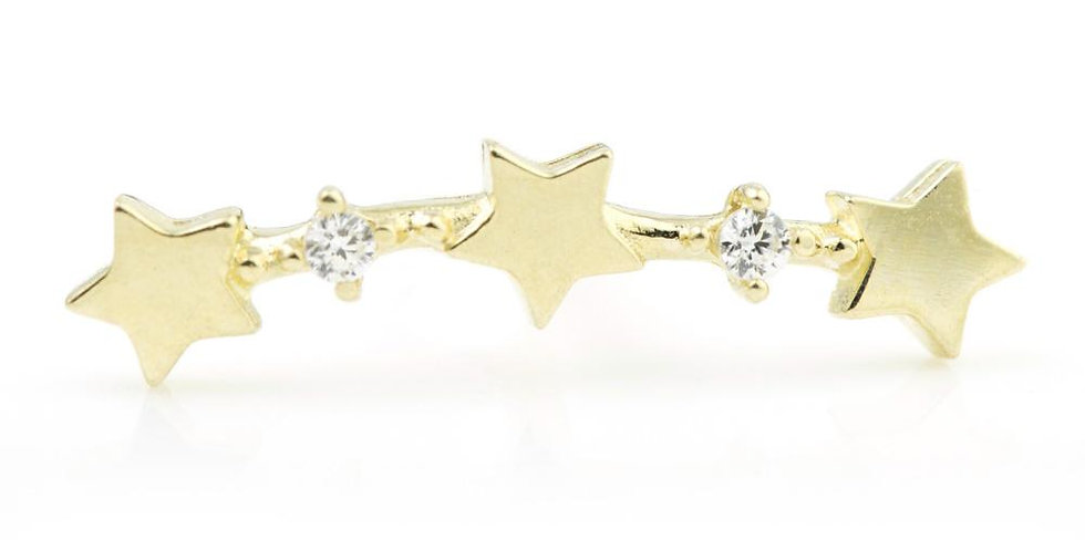 9ct Gold Curved Stars & Gem Cartilage Bar