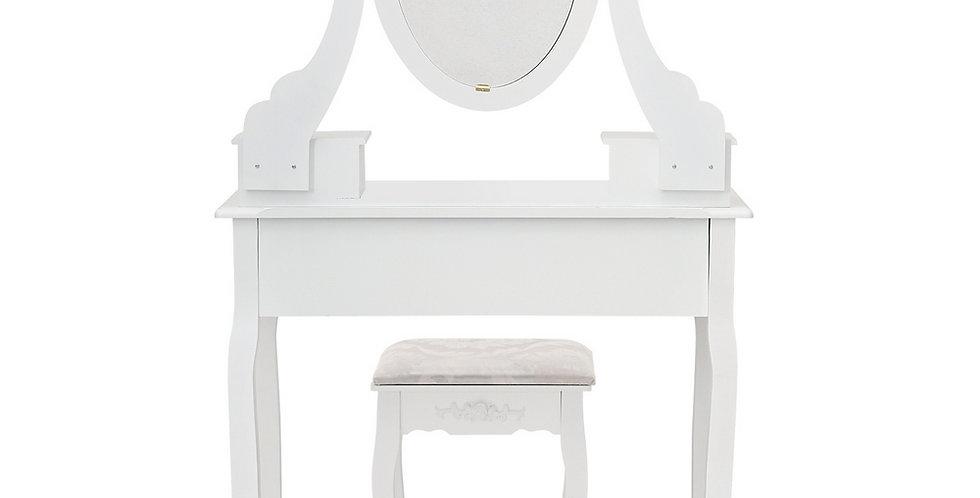 Single Mirror 5 Drawer Dressing Table White