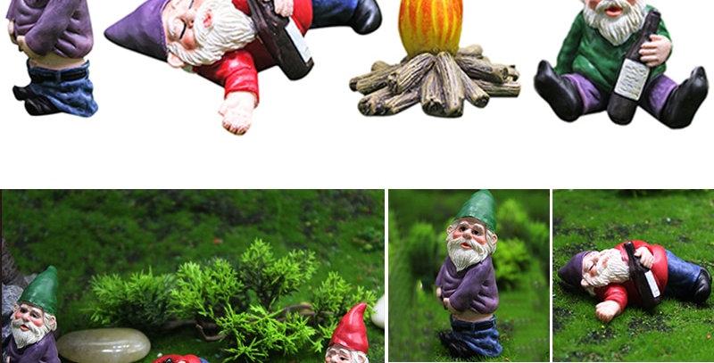 Fairy Garden Drunk Gnomes Miniature Ornaments Set Dwarf Bonfire Statues