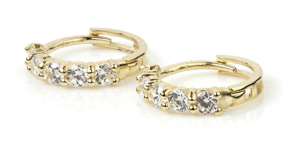 9ct Gold Gem Cartilage Hoop 11mm Huggie Earring