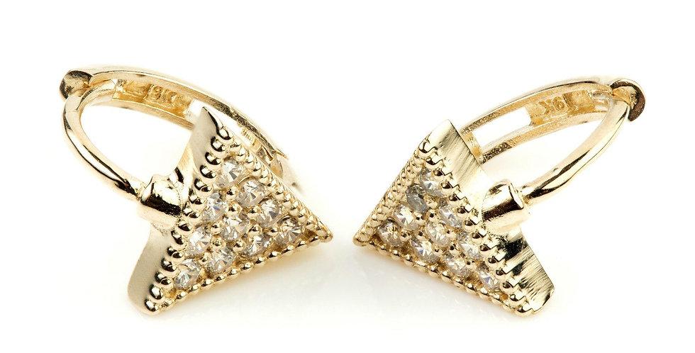 9ct Gold Crystal Triangle Hoop Huggie Earring
