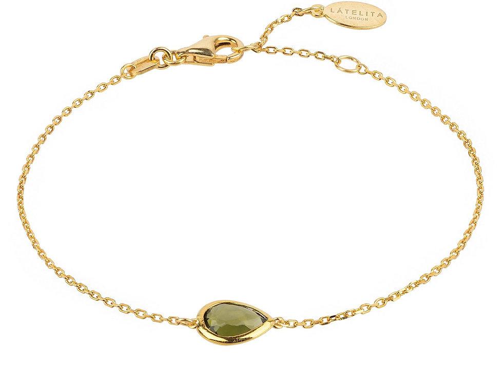 Pisa Mini Teardrop Bracelet Gold Peridot