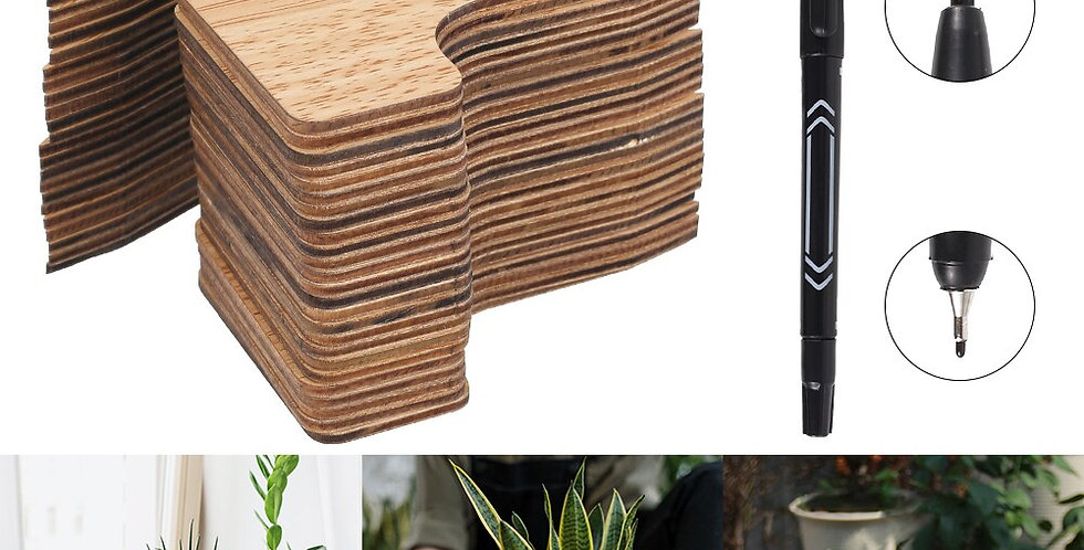50pcs Plant Labels T-Type Wooden Plant Sign Tags Eco-Friendly