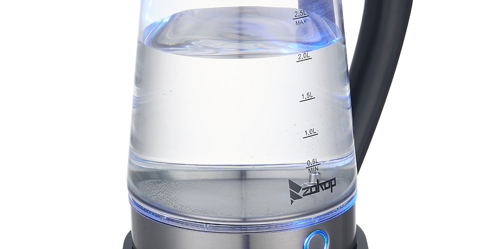 2.5L Blue Glass Electric Kettle with Filter