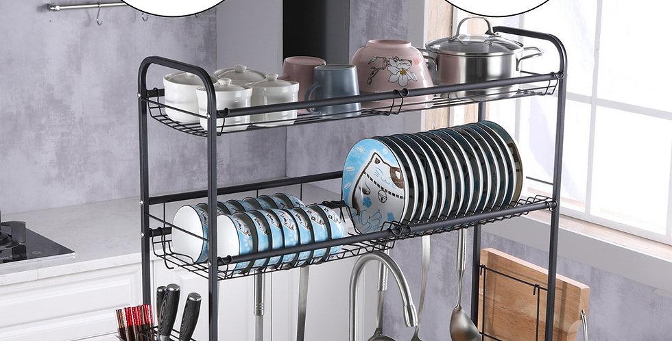 Stainless Steel Double Layer, Inner Length 90cm Kitchen Bowl Rack Shelf Black