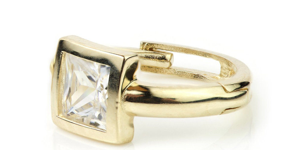 9ct Gold Square Crystal Cartilage 11mm Huggie Earring
