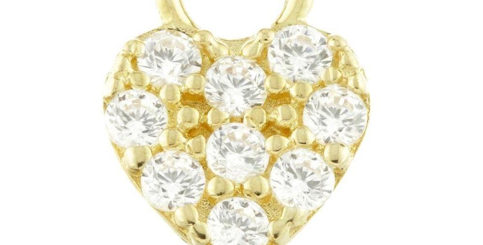 9ct Gold CZ Heart Charm for Plain Clicker Hoop