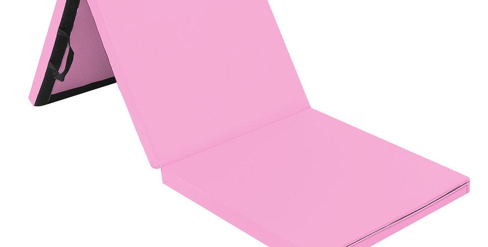 Tri-fold Gymnastics Yoga Mat with Hand Buckle Pink