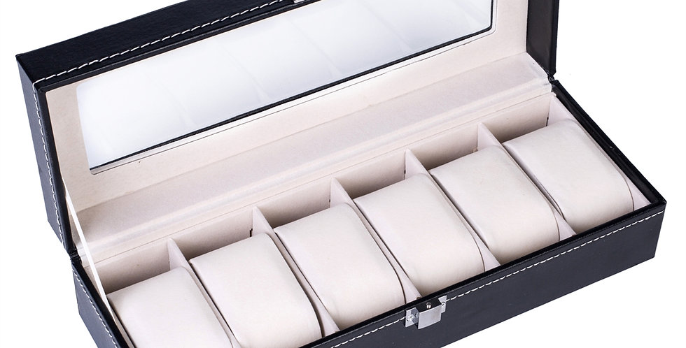 6 Compartments High-grade Leather Watch Collection Storage Box Black