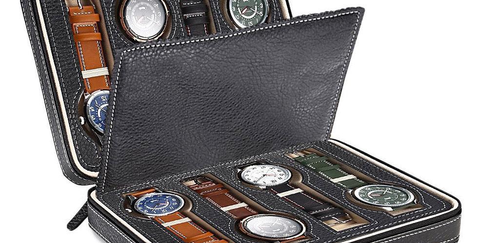 Portable Watch Box Travel Case Storage Organizer Black