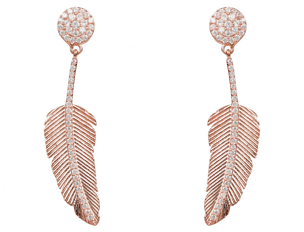 Angelic Feather Drop Earring Rose Gold