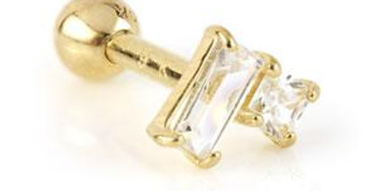 9ct Gold Gem Rectangle & Square Microbar - 1.2mm