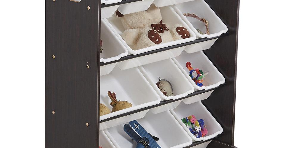 Kids' Toy Storage Organizer with 12 Plastic Bins, Espresso / White