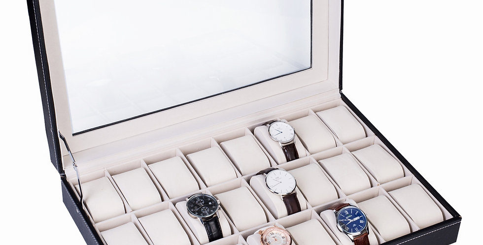 24 Compartments Top-level Opening Style Leather Watch Collection Box Black