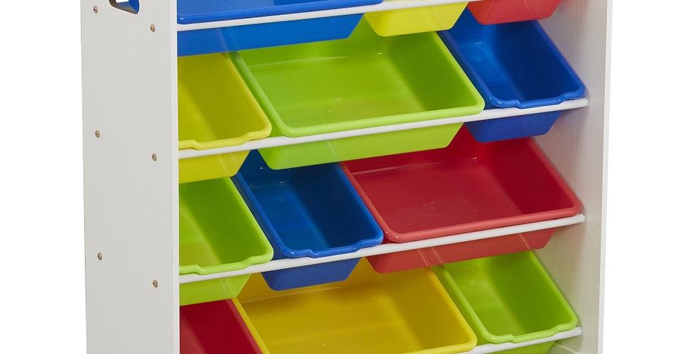 Kids' Toy Storage Organizer with 12 Plastic Bins, White / Primary
