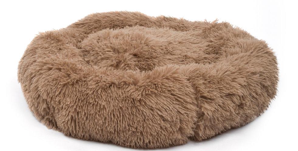 Pet Dog Cat Calming Bed Warm Soft Plush Round Brown