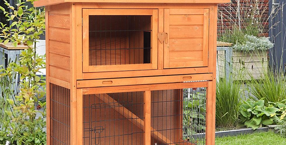 Waterproof 2 Tiers Pet Rabbit Hutch Chiken Coop Cage Hen House Wood Color
