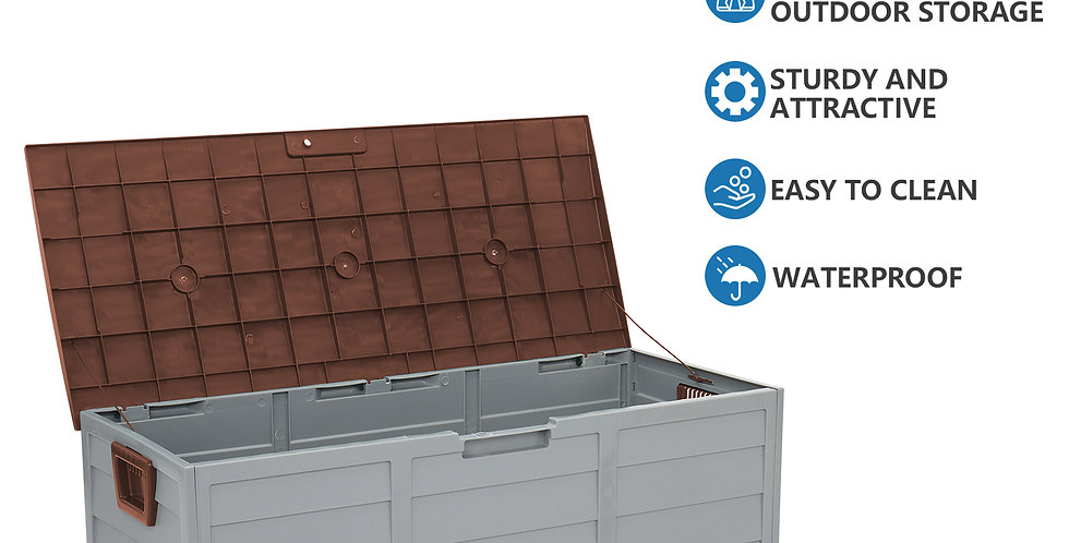 Outdoor Garden Plastic Storage Deck Box Chest Tools Cushions Toys Loc