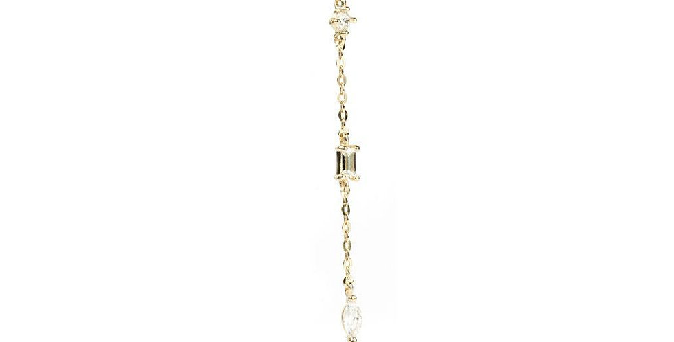 9ct Gold Chain With Multi Shaped Gems Stud Earring