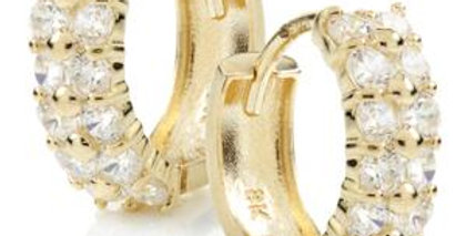 9ct Gold Twin Row Pave Crystal Huggie Earring