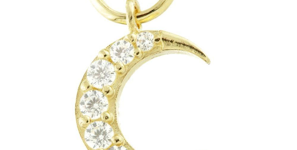 9ct Gold (Choose Yellow or White) CZ Crescent Moon Charm for Huggies or Hoops