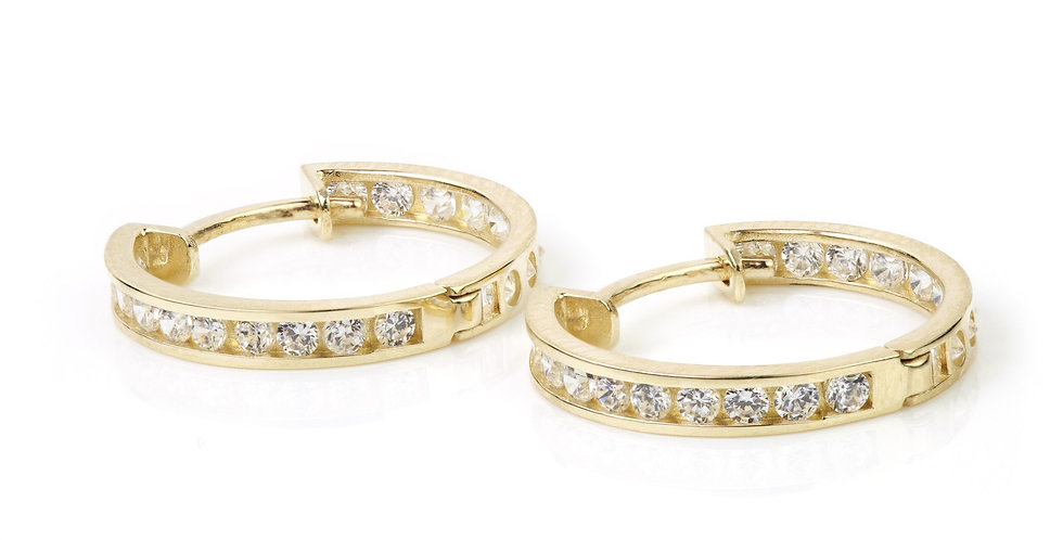 9ct Gold Crystal Channel 18mm Hoop Earring