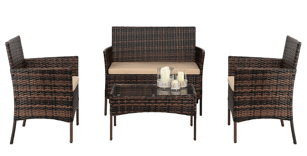 2pcs Arm Chairs 1pc Love Seat & Tempered Glass Coffee Table Rattan