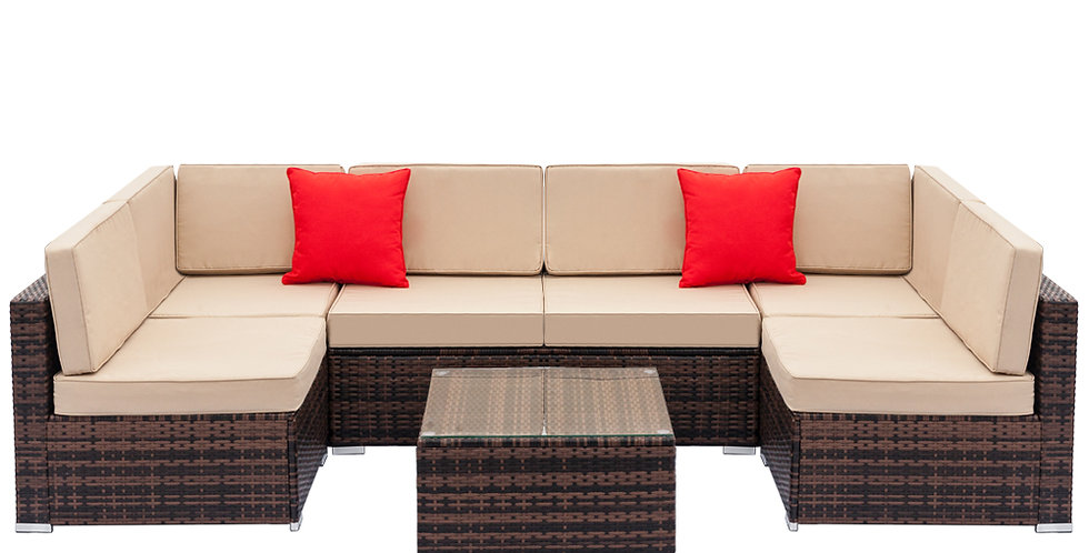 Rattan Sofa Set with 2pcs Corner Sofas & 4pcs Single SofaS & 1 pcs Coffee Table