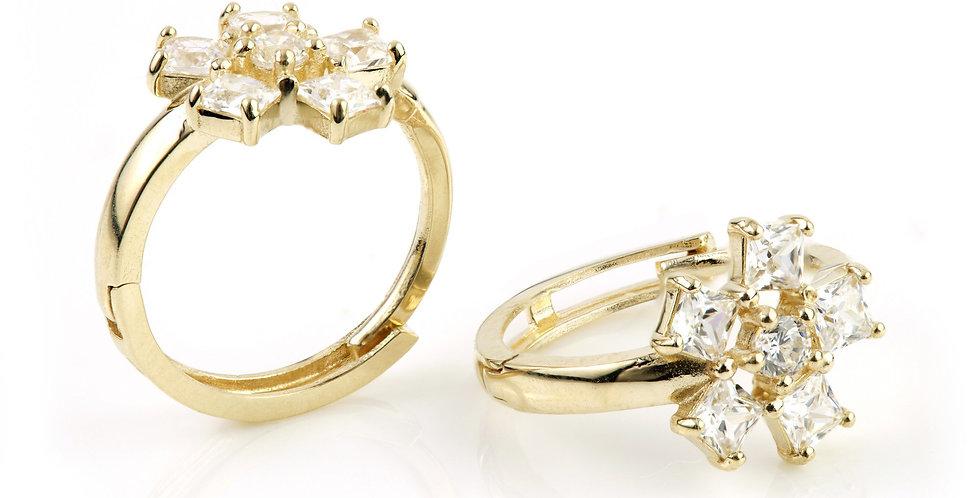 9ct Gold Crystal Flower Cartilage 12mm Huggie Earring