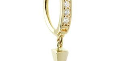 Solid Gold Oval Pave Rook Ring With Pendant