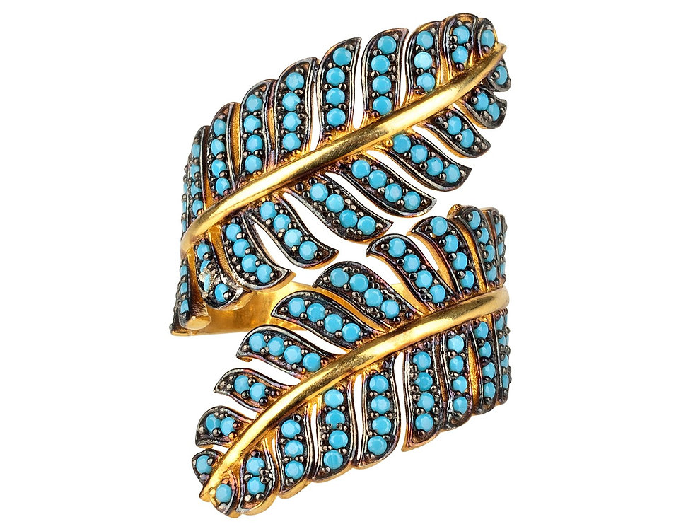 Tropical Leaf Cocktail Ring Blue Turquoise Gold