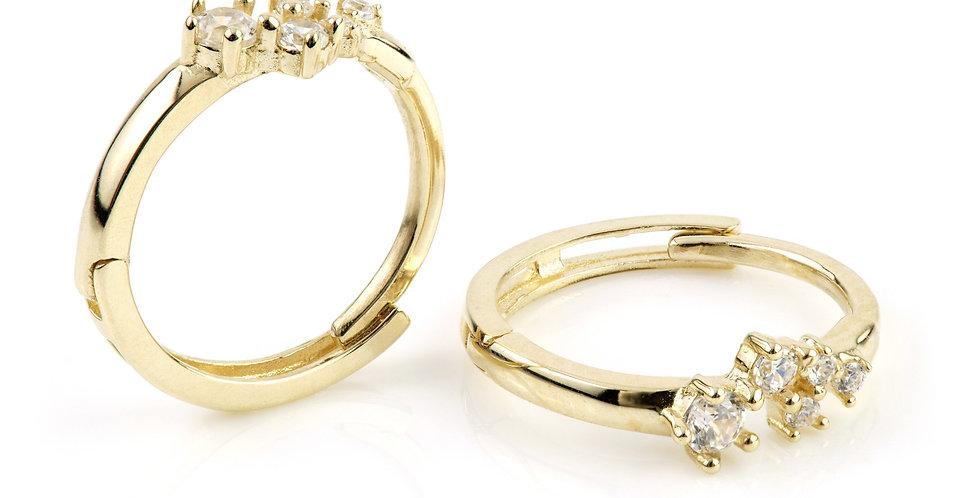 9ct Gold Crystal Stars Hoop Huggie Earring