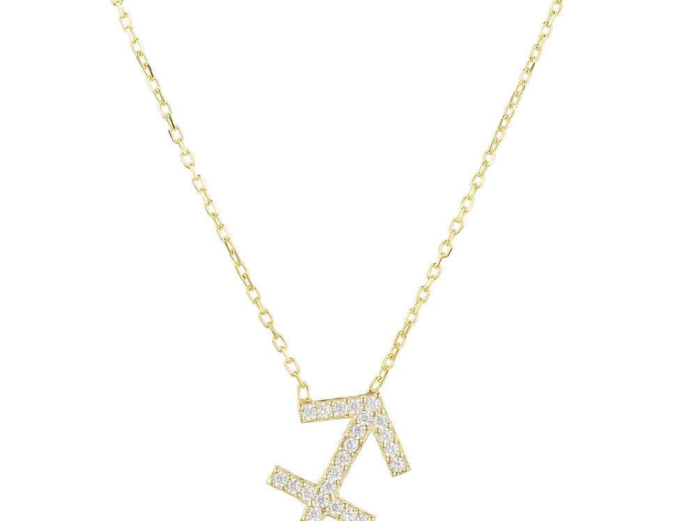Zodiac Star Sign Pendant Necklace Gold Sagittarius