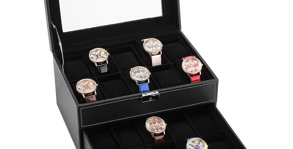 Watch Box 20 Mens Case Glass Top Display Organizer Lockable Black