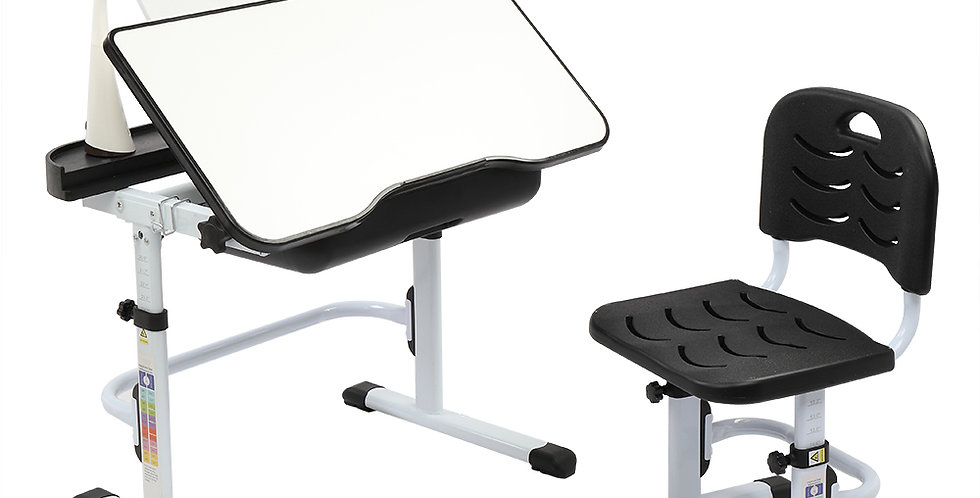 Lifting Table Top Can Tilt Children Learning Table And Chair Black