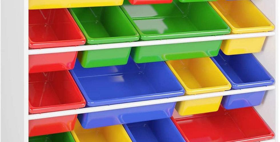 Wooden Kids' Toy Storage Organizer with 16 Plastic Bins