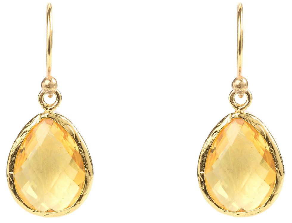 Petite Drop Earring Citrine Hydro Gold
