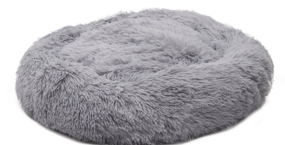 Pet Dog Cat Calming Bed Warm Soft Plush Round Light Gray