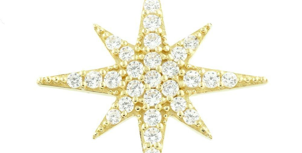 9ct Gold (Yellow or White) North Star Charm for Plain Clicker Hoops