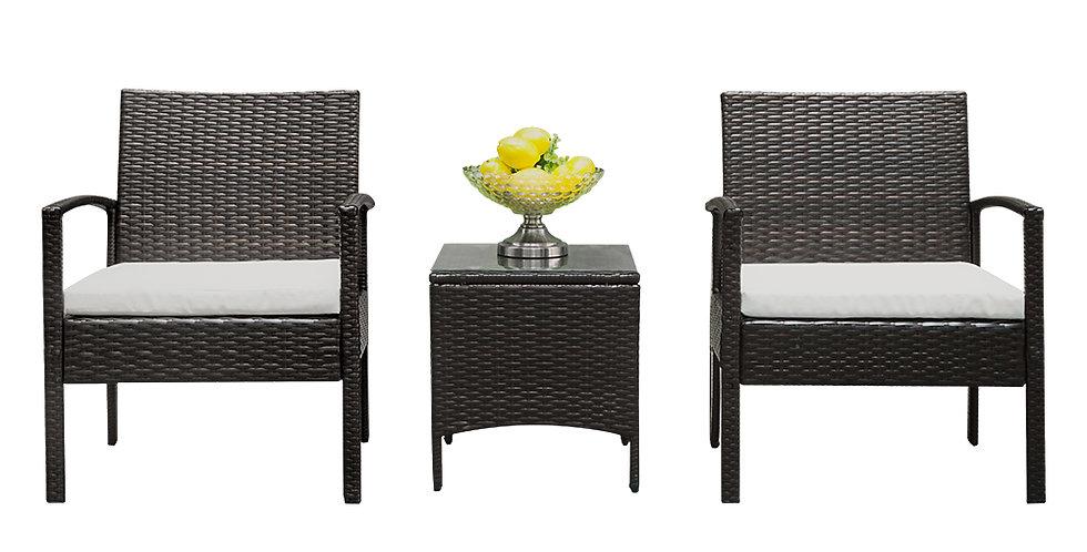 3pcs - 2pcs Arm Chairs 1pc Coffee Table Rattan Sofa Set Brown Gradient