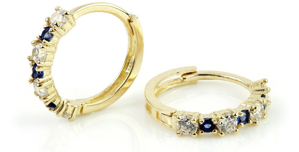 9ct Gold CZ & Sapphire Blue Cartilage Huggie Earring