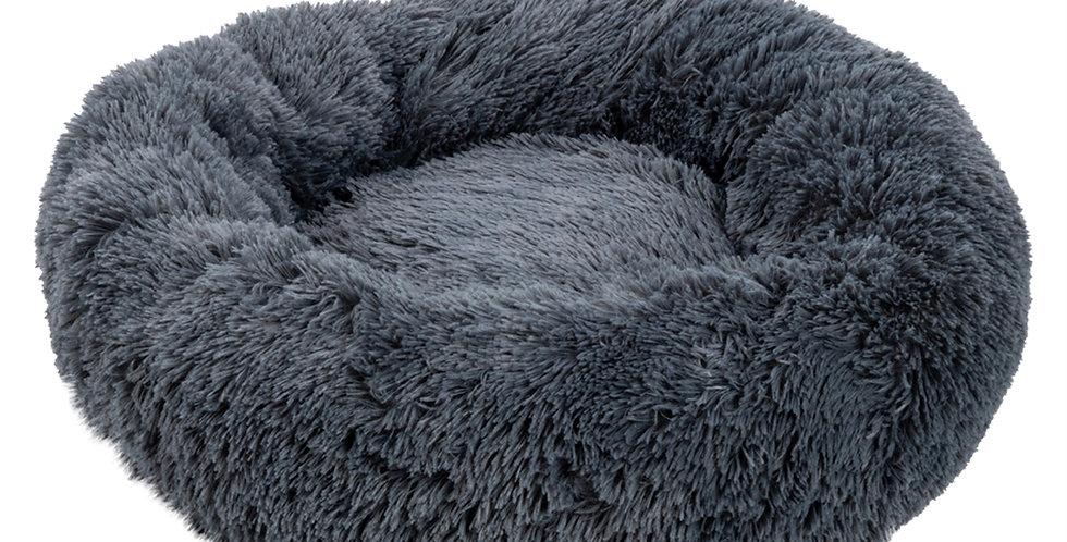Pet Dog Cat Calming Bed Warm Soft Plush Round Navy