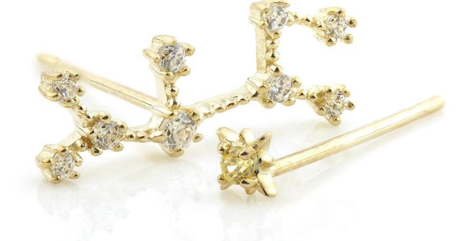 9ct Gold Gem Constellation Zodiac Earrings - Sagittarius
